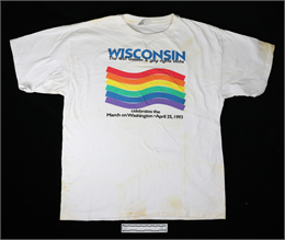 T-shirt, white cotton, Wisconsin--1st State to Support Lesbian & Gay Rights, 1993 Museum object 2019.21.1