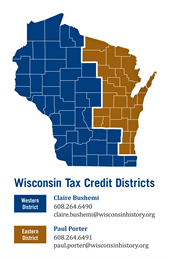 A map of Wisconsin showing eastern and western districts for historic tax credit reviewers