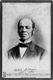Head and shoulders portrait of Ezekiel Gillespie. Gillespie was born in 1818 and died March 31, 1892. In 1866, Milwaukee's Ezekiel Gillespie successfully sued for the right to vote.