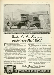 Truck advertisement. Headline says, 'Built for the Service - Trucks Now Must Yield.'