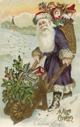 Holiday postcard depicts the traditional St. Nicholas figure garbed in a long purple fur trimmed robe, red fur trimmed hat and boots. He is pushing a wheelbarrow full of gifts, holly and pine boughs, and is wearing a basket on his back full of toys for children.
