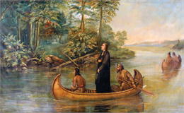 Oil painting of Marquette and Joliet in a canoe.