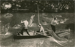 Oversized fish being reeled in by three men in a boat. Caption on postcard reads: 'Great Sport Fishing, Ottowa, Ks'.